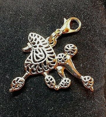 Pale Rose Gold Poodle in Motion Dog Pup Bag Purse Charm Dangle Zipper Pull