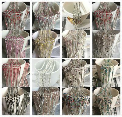 Wholesale 1-Row SS10 Cystal Glass Rhinestone Trim Cup Chain Claw Jewelry Crafts