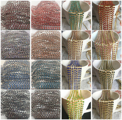 Wholesale 1-Row SS12 Cystal Rhinestone Trim Sparse Cup Chain Claw Jewelry Crafts