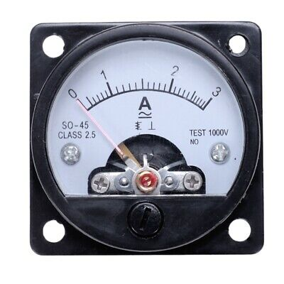 AC 0-3A Round Analog Panel Meter Current Measuring Ammeter Gauge Black P7L2 U8V3