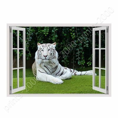 White Tiger Resting by Fake 3D Window   Ready to hang canvas   Wall art giclee