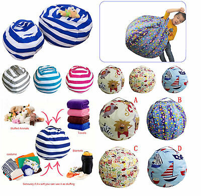 Kids Stuffed Animal Toy Cotton Bean Bag Storage Pouch Soft Sofa Relax Chair