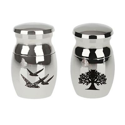 2pcs Small Stainless Steel Cremation Urn Ash Keepsake Memorial Container Jar