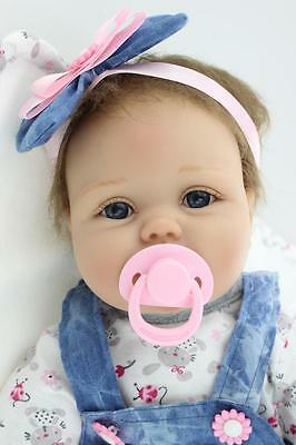 Reborn Baby Doll Soft Silicone Girl Toy 22in. 55cm Blue Dress Lucy