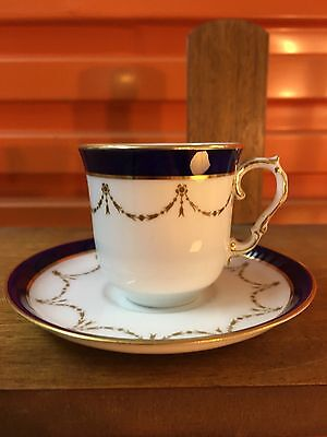Antique Early 1900s Art Nouveau English Bisto Coffee Cup Saucer made for Harrods