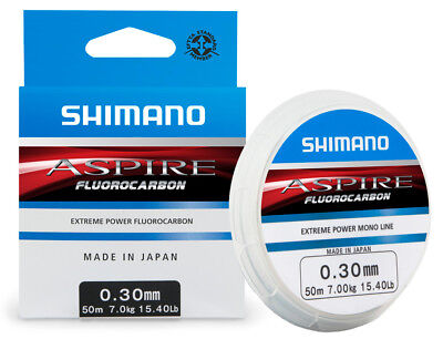 SHIMANO ASPIRE FLUOROCARBON MONO FISHING LINE HOOKLENGTH 0.12mm - 0.40mm 50m