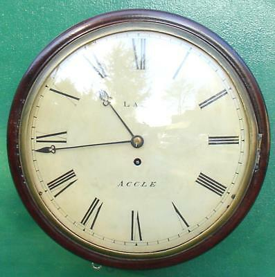 LAST ACCLE EARLY ENGLISH ANTIQUE MAHOGANY 8 DAY CONVEX FUSEE DIAL CLOCK 1850c