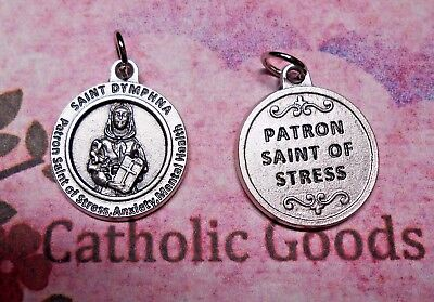 St. Saint Dymphna  - Patron Saint of Stress - OxiSilver Tone 3/4 inch Medal