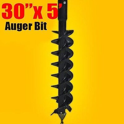 """30""""x 5' Auger Bit HDC 2.56"""" Round, For Difficult Digging Conditions, Made In USA"""