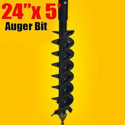 """24""""x 5' Auger Bit HDC 2.56"""" Round, For Difficult Digging Conditions, Made In USA"""