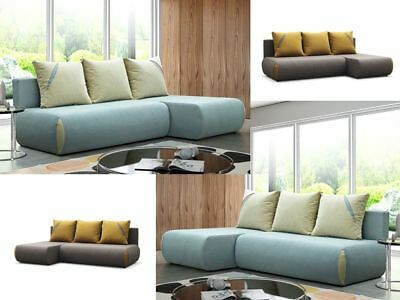 Fast Delivery Corner Sofa Bed With Storage Dako Cuba Greyish Blue Or Brown