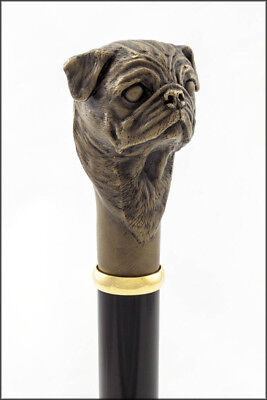 Pug collectable dress cane - Bronze head, Aluminium shaft.