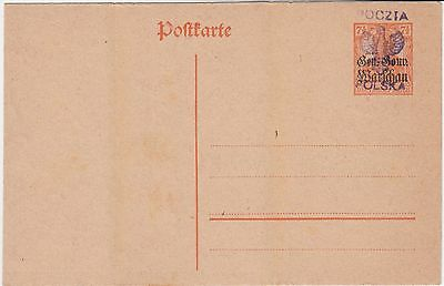 1918 Poland Kalisz Local Provisional Overprint Germania Stationery Card Rare !