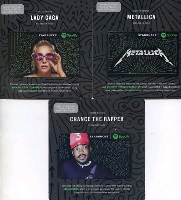 3 Starbucks Limited Edition Lady Gaga Mettalica Chance the Rapper Card 2017 Mint