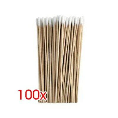 100Pcs 6 inch Thin Wood Cotton Tipped Applicator for Gun Cleaning New A7W8 K7R2