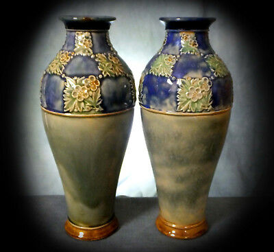 LOVELY PAIR of  DOULTON LAMBETH EARLY 20th. CENTURY '  NEW STYLE ' VASES