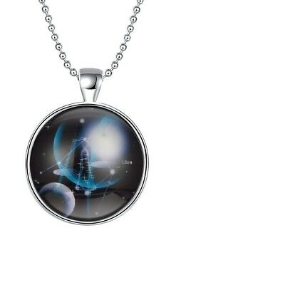 Unisex Silver Luminous Punk Libra Glow In The Dark Pendant & Necklace set