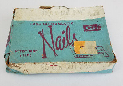"""Vintage Hardened Square Nails 8-D C.H. CUT USI Foreign Domestic 2 1/2"""" Long"""