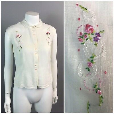 Vintage 1940s White Sheer Flower Embroidery Button Up Sleeveless Cotton Blouse S