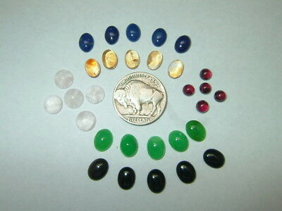 OLD STOCK Asst 30pc Lot Ovals & Rounds Natural Semi Precious Cabochon Gemstones