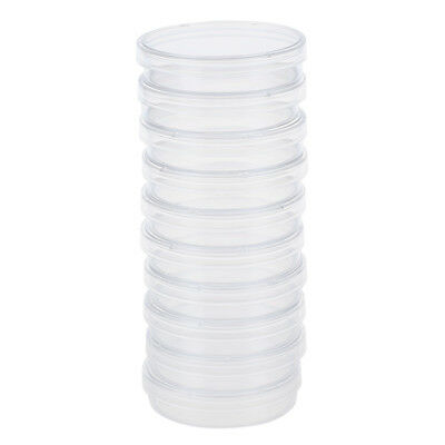10 pcs 60mm x 15mm polystyrene sterilized Petri dishes with lids Clear D1A8 Y1K2