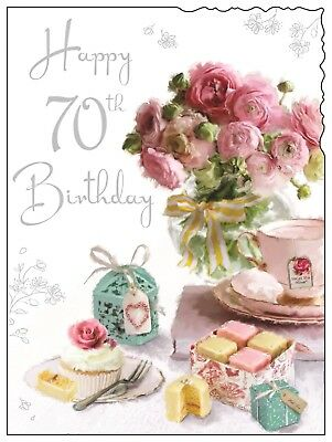 Happy 70th 70 Birthday Card For A Lady Luxury Made In UK