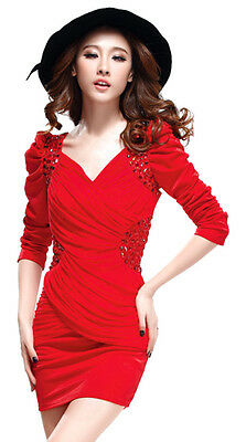 Fashion Women's Long Sleeve Casual V Neck Party Evening Short Mini Dress