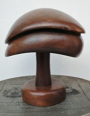 Vintage Wooden Hat Block/Form with Stand Superb Shape, Millinery Display.