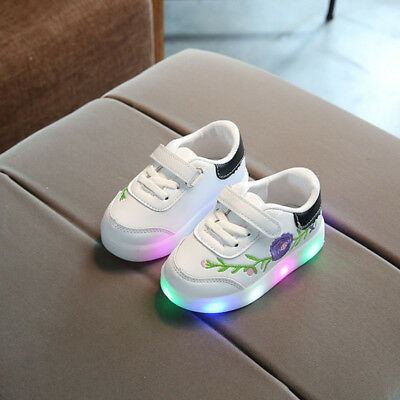 Kids Boys Girls Flashing Shoes LED Light Up  Trainers Shell Toe Sneakers For Bab