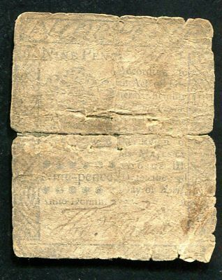 9p NINE PENCE PENNSYLVANIA COLONIAL CURRENCY NOTE
