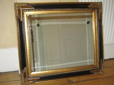 Vintage Antique French Style Large Black & Gold Mirror Bevelled Edge