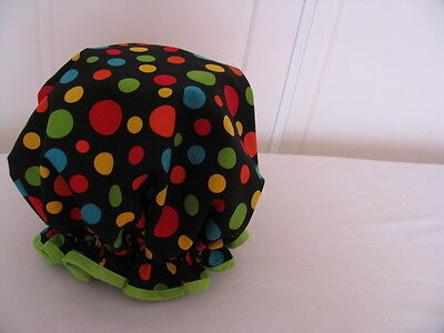 QUALITY SHOWER CAP COTTON  MULTI COLOUR POLKA DOTS  water proof UNUSUAL