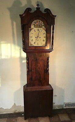 Antique Classical Mahoghany Grandfather Clock 19th Cent