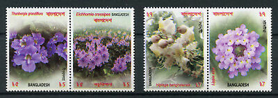 Bangladesh 2017 MNH Flowers 4v Set in Pairs Flora Nature Stamps
