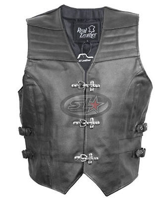 Mens Real Leather Fish Hook Buckle Biker Waistcoat/vest- Sides Adjustable Straps