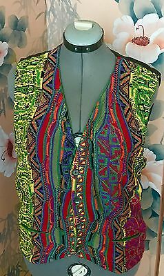 Vintage Coogi Men's Colorful Mercerized Cotton Sweater Vest Size L Australia