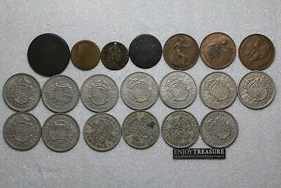 Uk Gb Many Old Coins Lot A72 Hh20