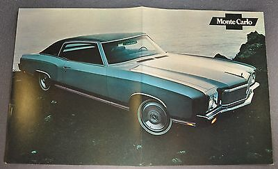 1971 Chevrolet Monte Carlo Coupe Sales Brochure Poster Sheet Excellent Original