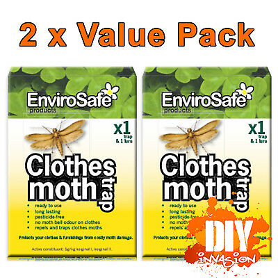 ENVIROSAFE Clothes Moth Trap & Lure x 2 Value Pack Non Toxic Safe Last 3 Months