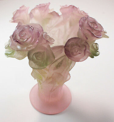 Signed Daum Pate de Verre Glass Rose Flower Vase