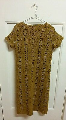 pure wool,vintage crotchet dress.Mustard colour.Size 10 to 12.