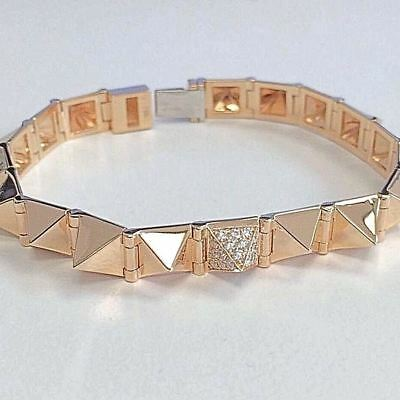 97f6d6632 Large with One Diamond 7mm Spike Bracelet 14K Rose Gold Punk Rock Gothic