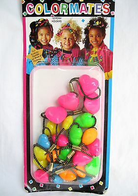 Vtg New 12 Ponytail Holders 1970's - 1980's Girls In Package - Pink, Green, Blue