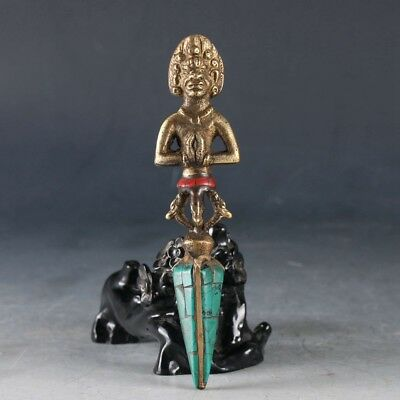 Antique Brass Inlaid Turquoise Nepal  Handcrafted Dorje Tibetan Buddhist