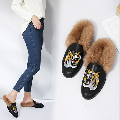 ec698655939 New Princetown Horsebit Genuine Rabbit Fur Lined Embroidery Tiger Loafer  Slipper
