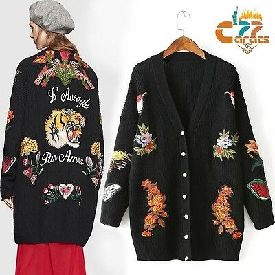Vintage 70s Hippie Embroidered OVERSIZED Cardigan Knitted SWEATER  Jacket COATS