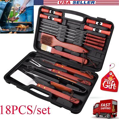 BBQ Set 18-Piece Stainless Steel Outdoor Barbecue Grill Cooking Utensils Tools