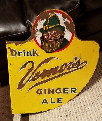 """Vintage Vernors Double-Sided Flange Sign 21"""" x 18"""" Cola - Soda - Pop RARE"""
