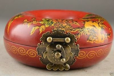 Beautiful Red Round Wood Oriental Old Handwork Painting Phoenix Jewelry Box