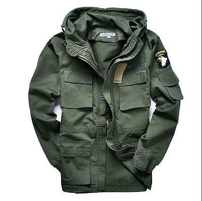 Mens Coat Military Cotton Fleece Hooded Warm Jackets Outerwear Black Army Green